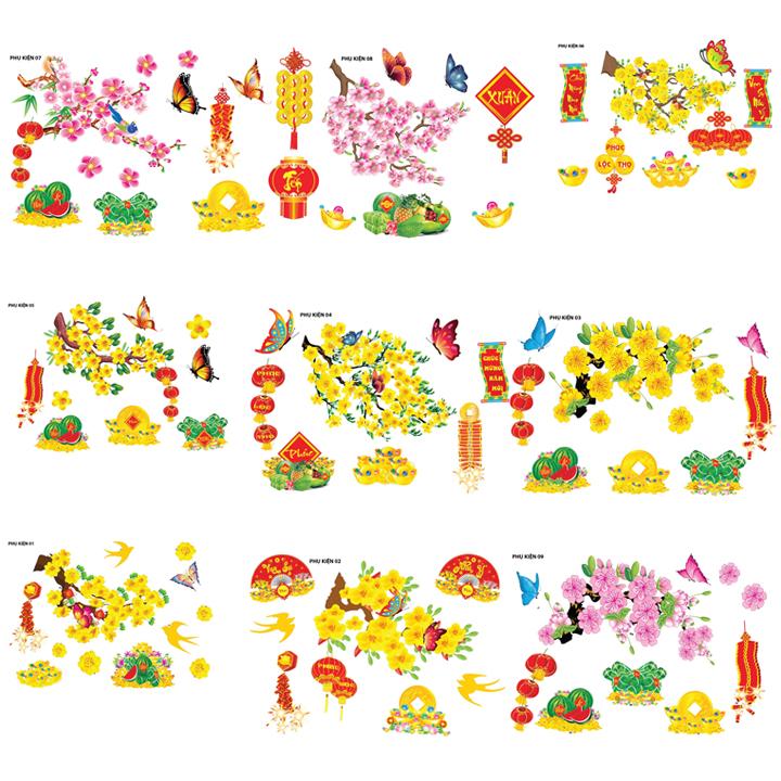Set phụ kiện hoa mai hoa đào trang trí tết nổi 3D size nhỏ